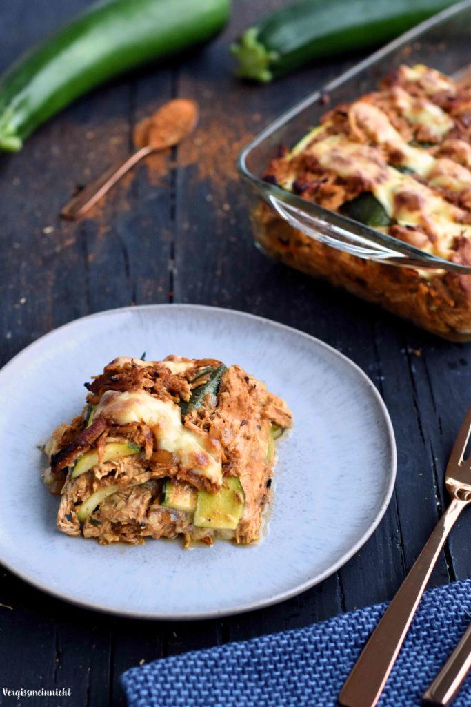 Zucchini Lasagne mit pulled Turkey